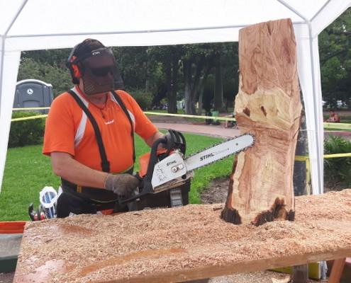 Darío Klehr trabajando en vivo en el Parque Rivadavia