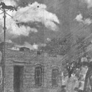 Pulpería de Caballito ubicada en la actual esquina de Rivadavia y Emilio Mitre. Ilustración de Héctor Núñez Castro.