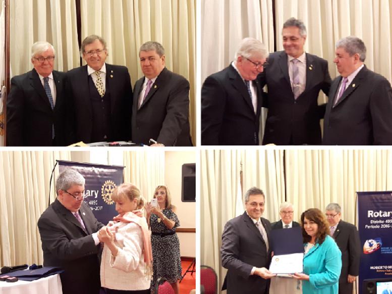 """Durante la noche se entregaron cuatro """"Paul Harris"""". Entre ellos a Rubén Rigalli y Carlos Menguez, integrantes de Rotary Club Caballito."""