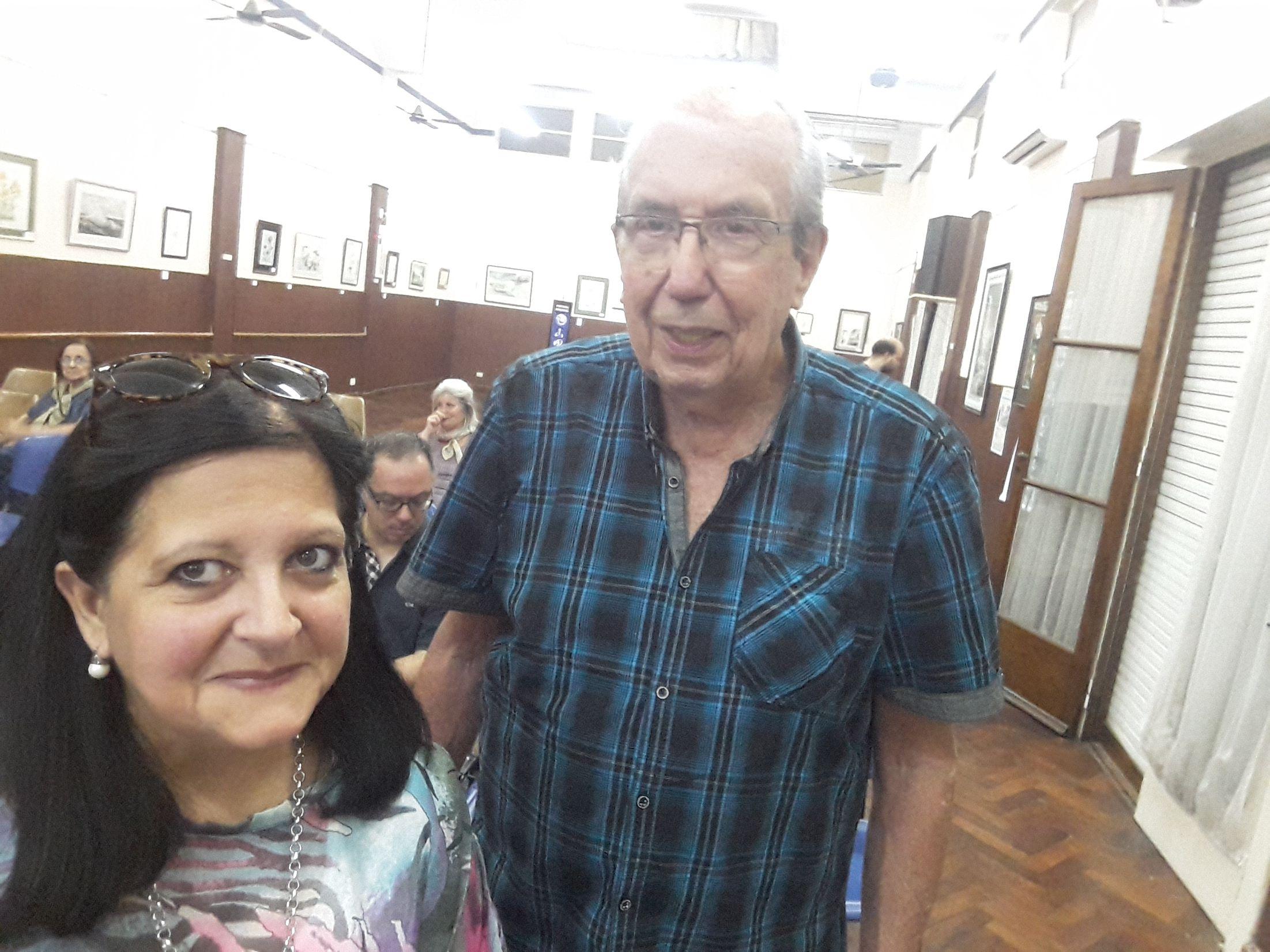 Aquilino González Podestá y Marina Bussio antes de comenzar la charla.