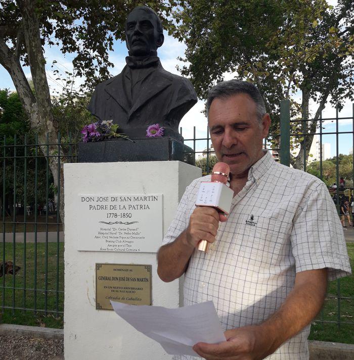 """Sergio Mosquera, integrante de la Asociación """"La Cofradía de Caballito""""  se refirió a la figura de San Martín."""