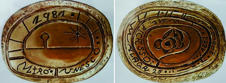 Medalla entregada a FCO por la Unesco, realizada por Miró y Picasso