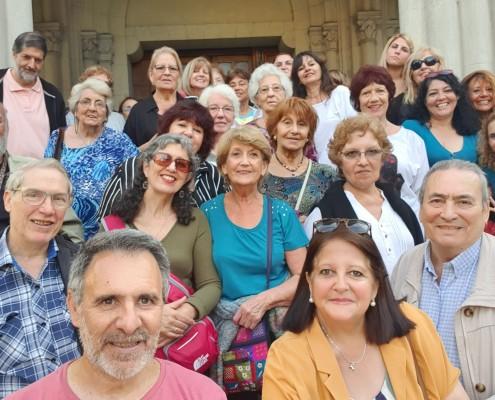 Parte del grupo que participó en la visita con los organizadores, Sergio Mosquera, Marina Bussio y Arnaldo Goenaga.