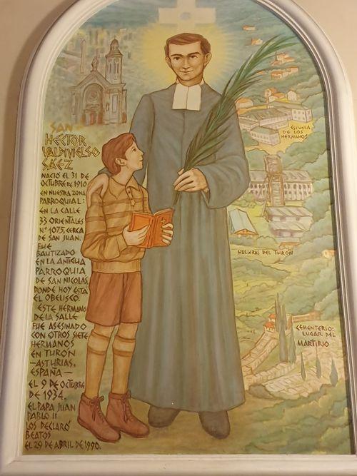 Mural dedicado a San Héctor Valdiviezo, el primer santo argentino.