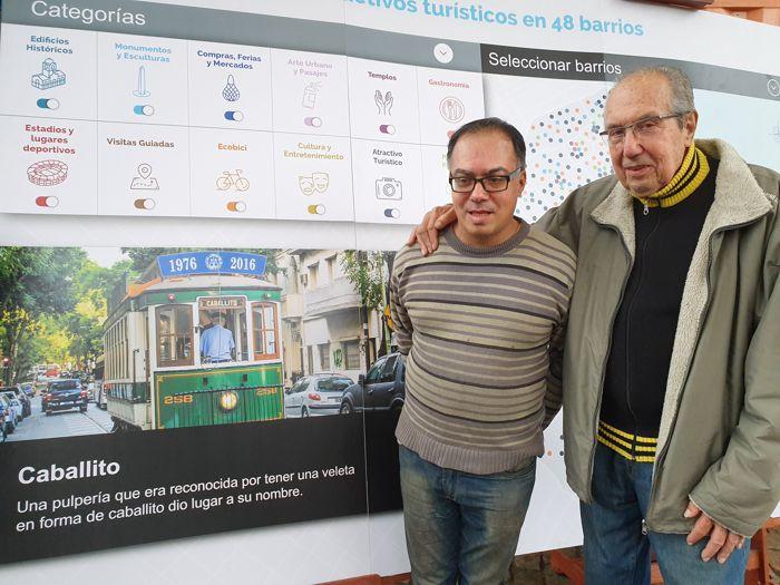 Aquilino González Podestá y Gabriel Mattalía de la Asociación Amigos del Tranvía, importante atracción turística de Caballito.