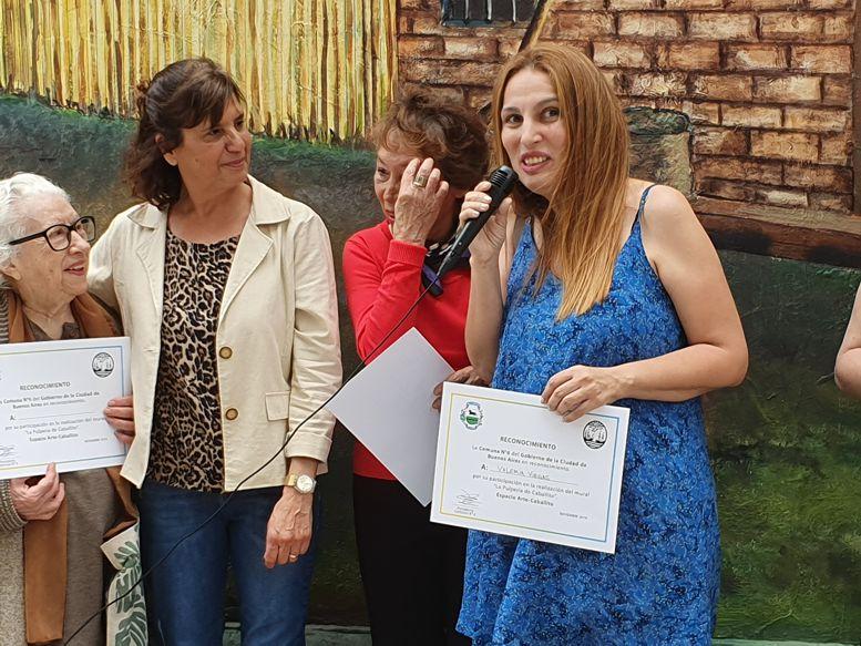 Valeria Viegas hizo uso de la palabra en nombre de los artistas.