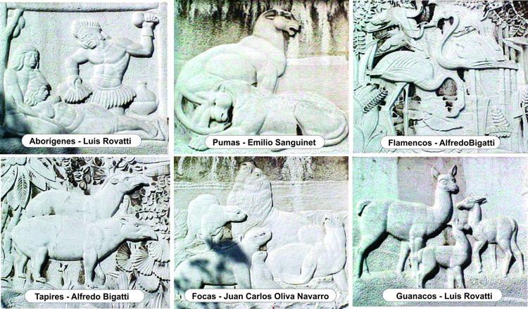 Algunos de los altorrelieves del exterior.