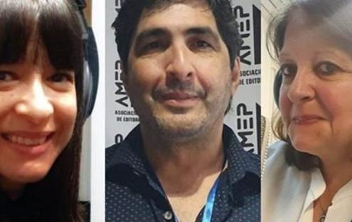 Elizabeth Machado (secretaria), Mario Bruno (presidente) y Marina Bussio (Vicepresidente)