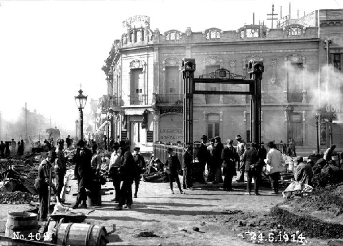 Plaza Primera Junta, pocos días anes de la finalización de las obras, año 1914.