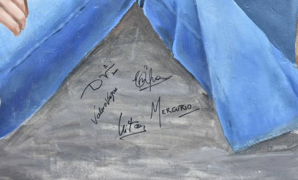 Firmaron el mural los artistas y Nito Mestre.